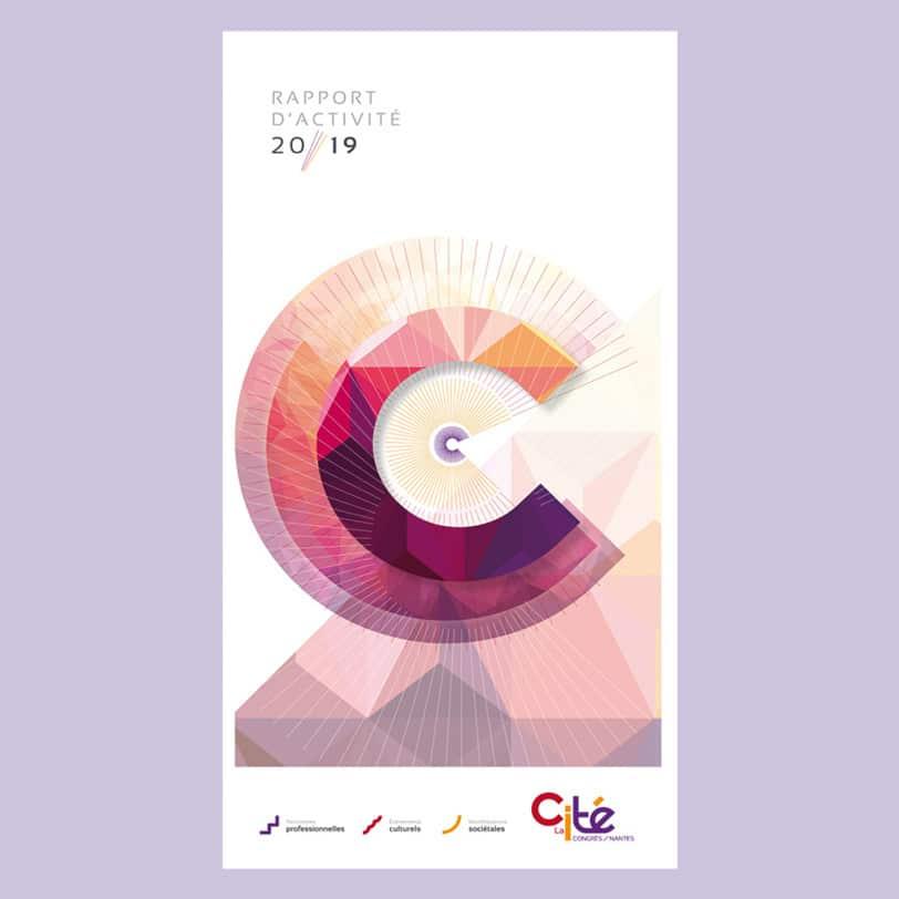 Couverture du dépliant rapport d'activité de la cité des congrès créée par l'agence Coletteandco