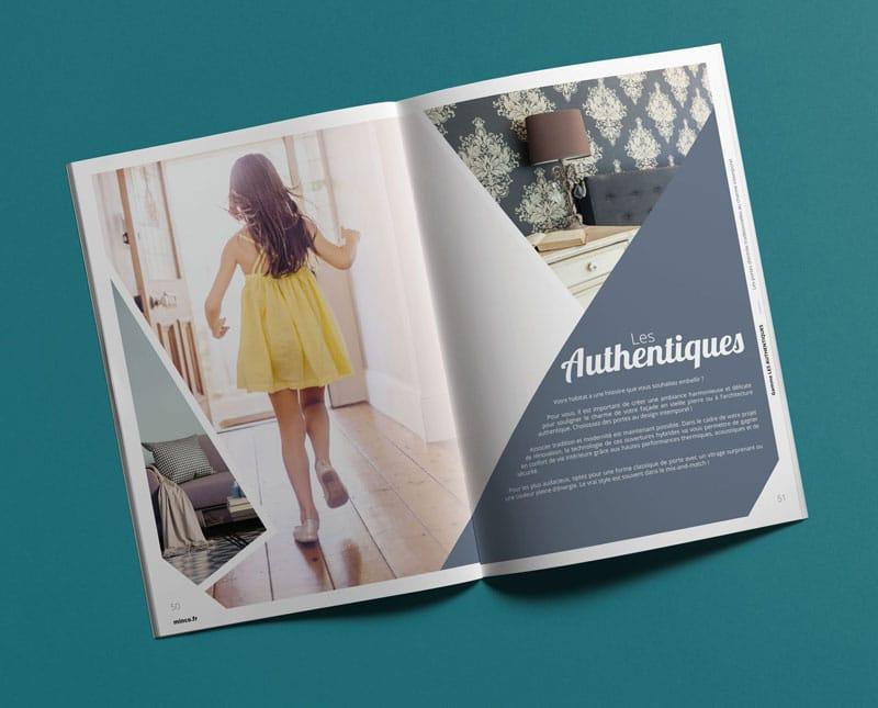 Catalogue Porte Minco double page les authentiques créée par Coletteandco