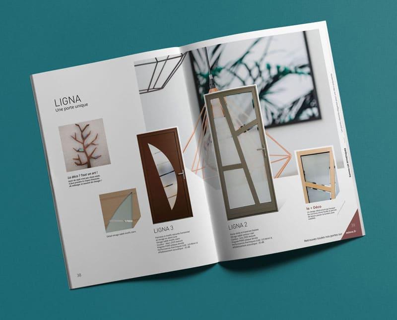 Double page Porte Ligna du catalogue Porte Minco crée par Coletteandco